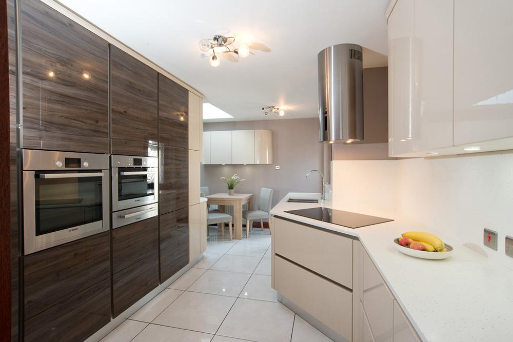 captivating beige gloss kitchen | High Gloss Acrylic Laminated Kitchen – Bespoke Furniture ...